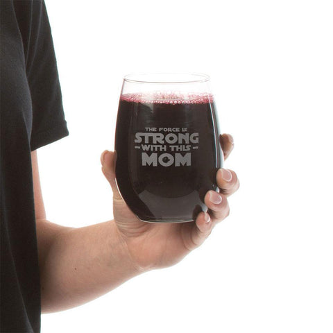 The Force is Strong-Stemless Wine Glass Laser Etched - Sweet Dragon Mama