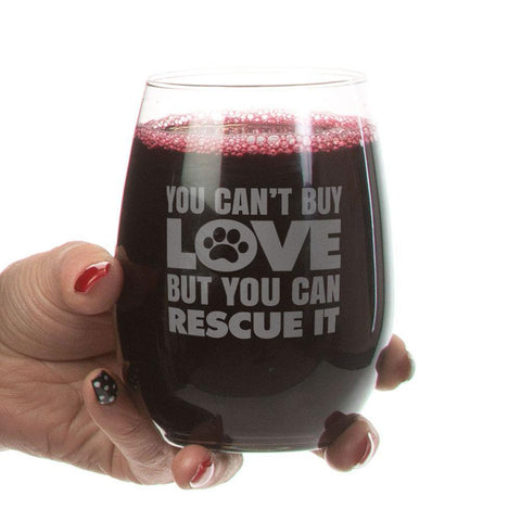 """Can't Buy Love""-Stemless Wine Glass Laser Etched"