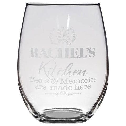 Meals and Memories Custom Stemless Wine Glass