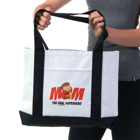Mom- The Real Superhero Tote Bag - Sweet Dragon Mama