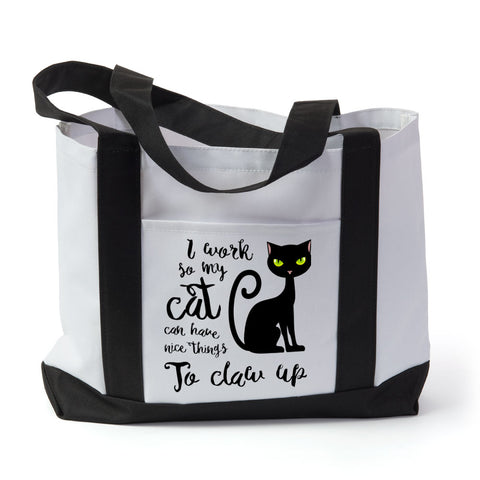 "Tote Bag-""I work so my cat..."""
