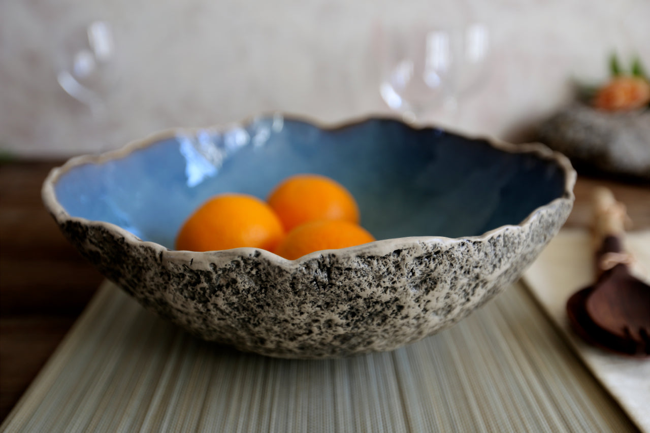 Organic shaped stoneware large bowl