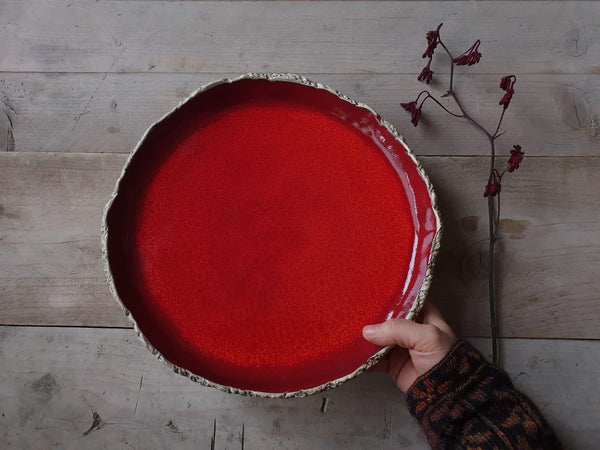 Large Playful Red serving plate