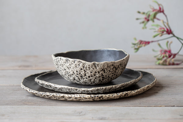 Unique shaped dinnerware sets Fine dining ceramic Black pottery