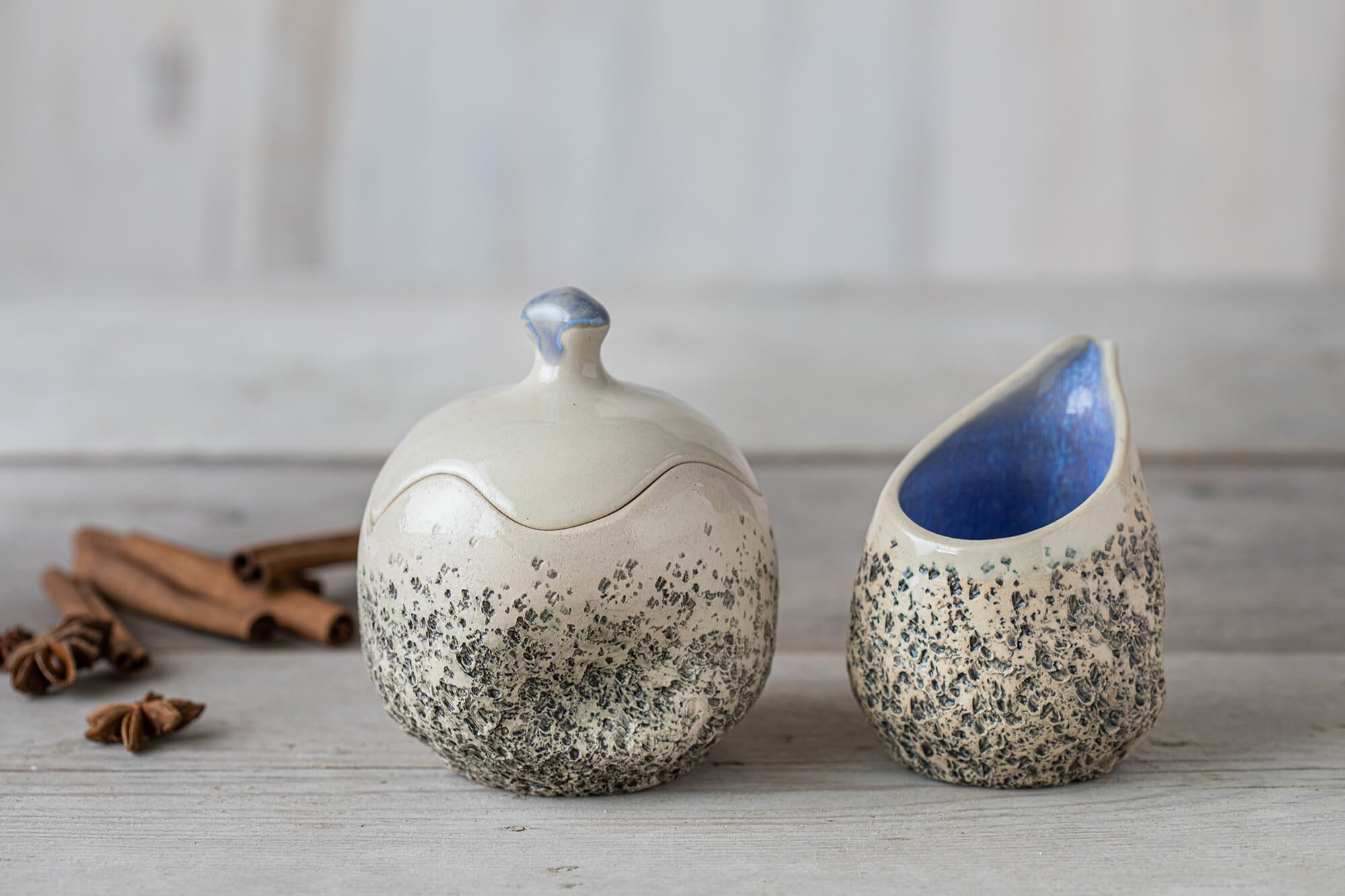 Ceramic creamer and sugar set Ceramic sugar bowl