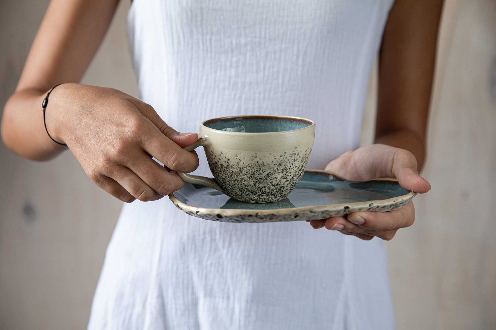 Handmade Ceramic Tea Cup and Saucer