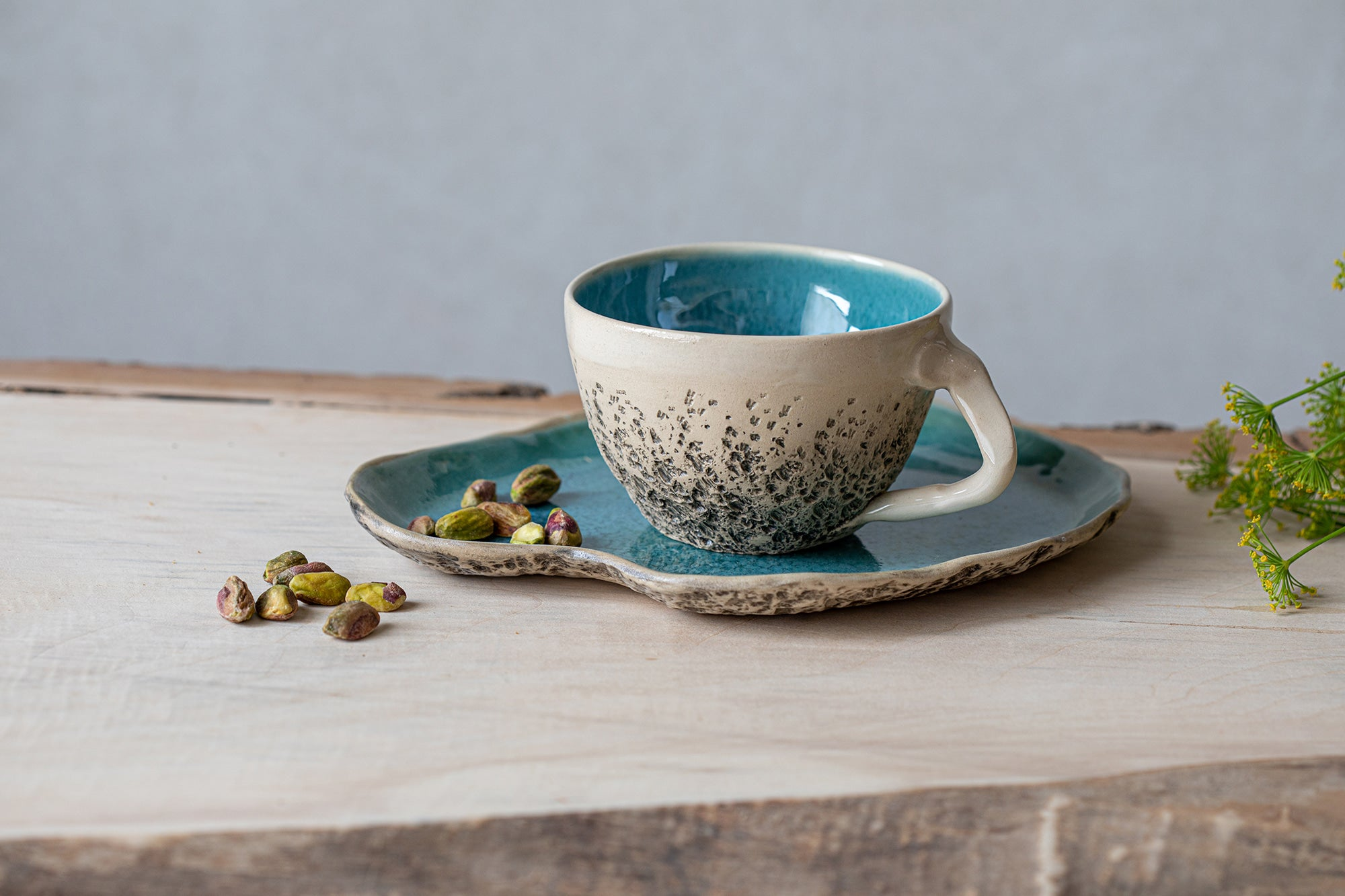 Blue tea cup Ceramic tea cup with saucer High quality ceramics