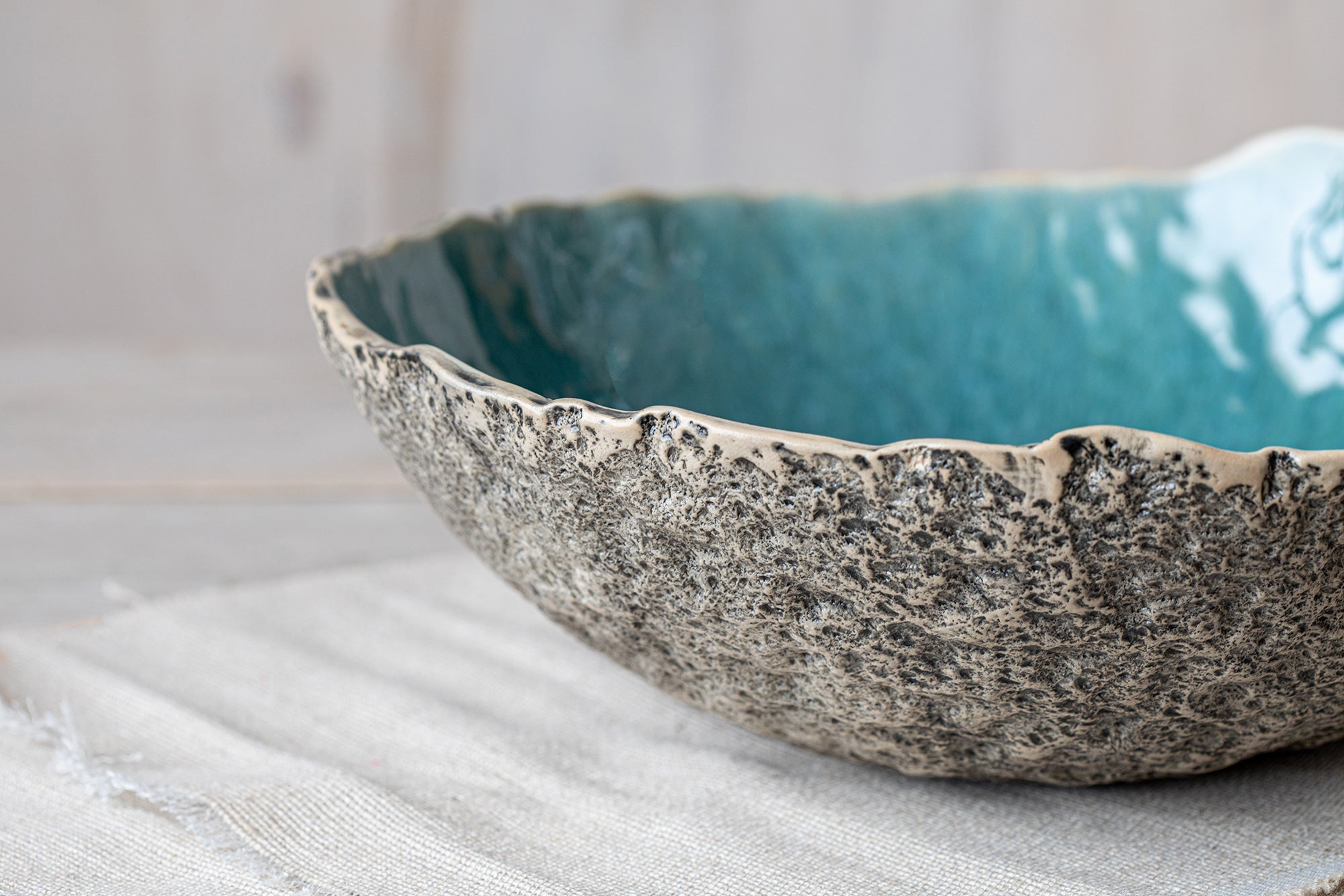Turquoise serving bowl Handmade pottery