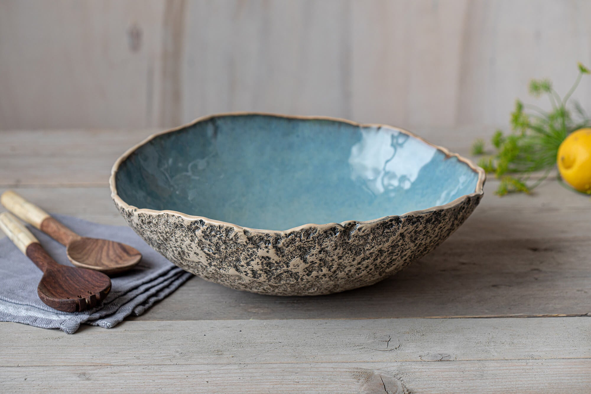 Blue organic serve ware large bowl