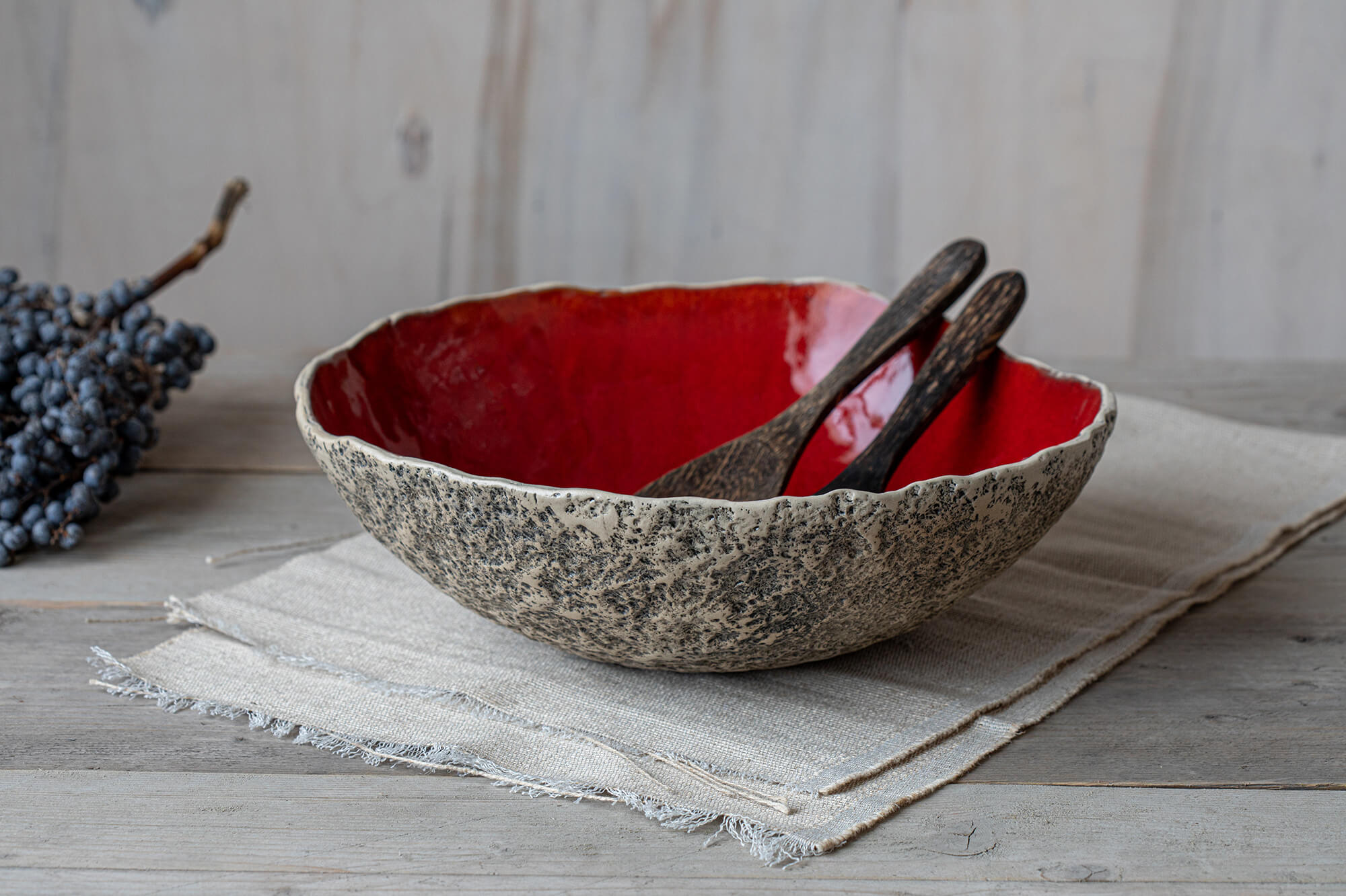 Red centrepiece ceramic art Large bowl