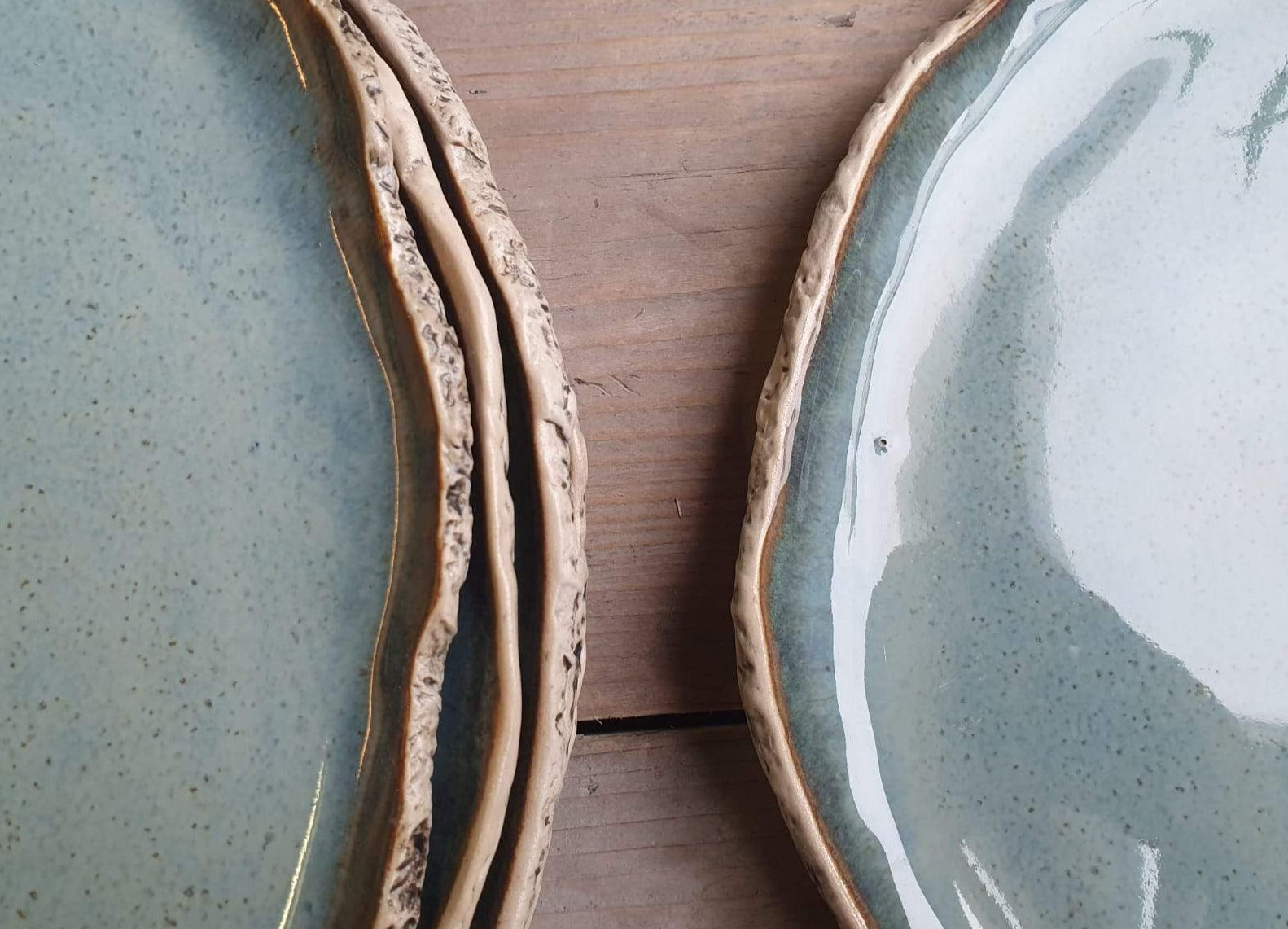 Seconds Speckled Blue dinner plates