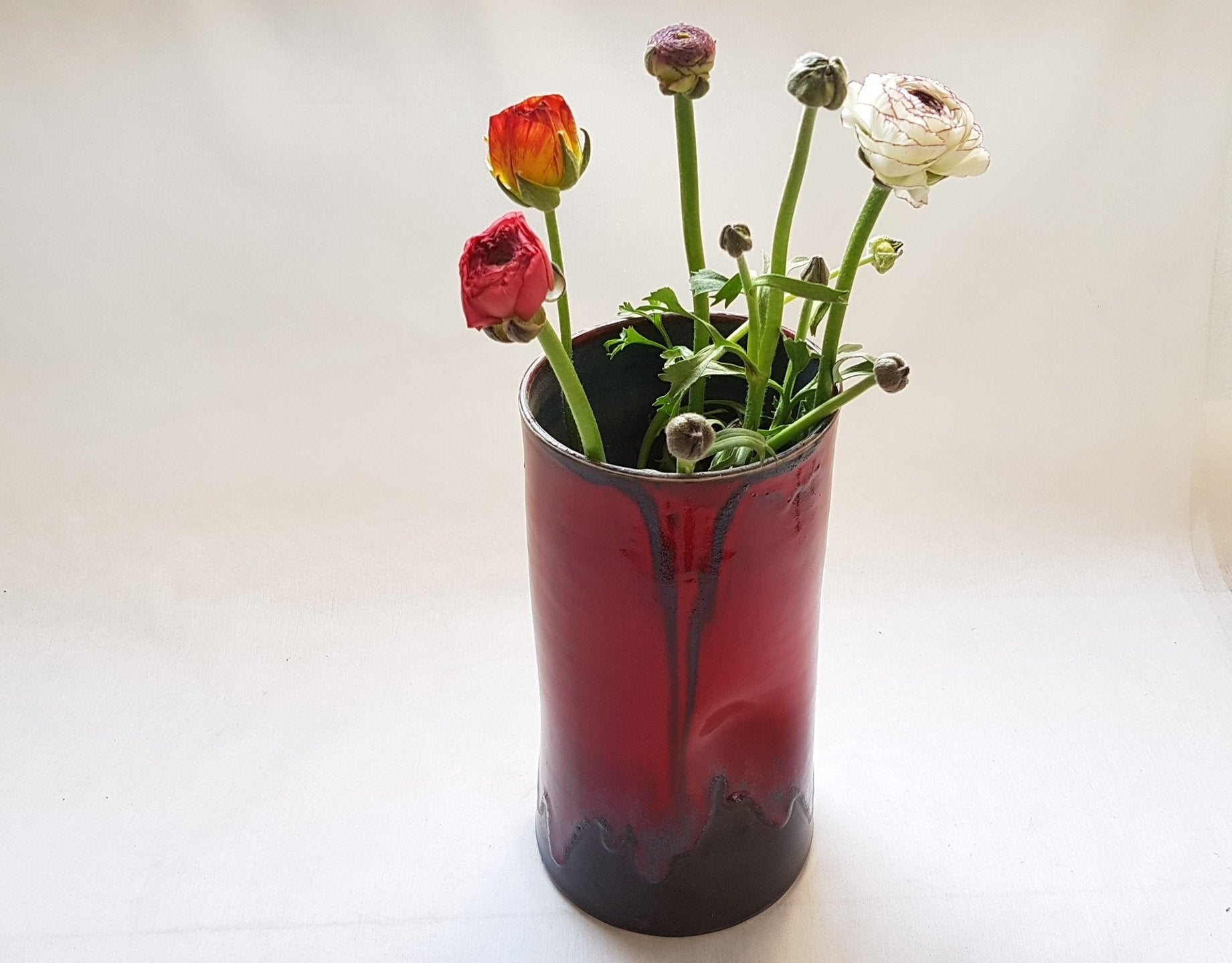 Red Ceramic Flower Pot
