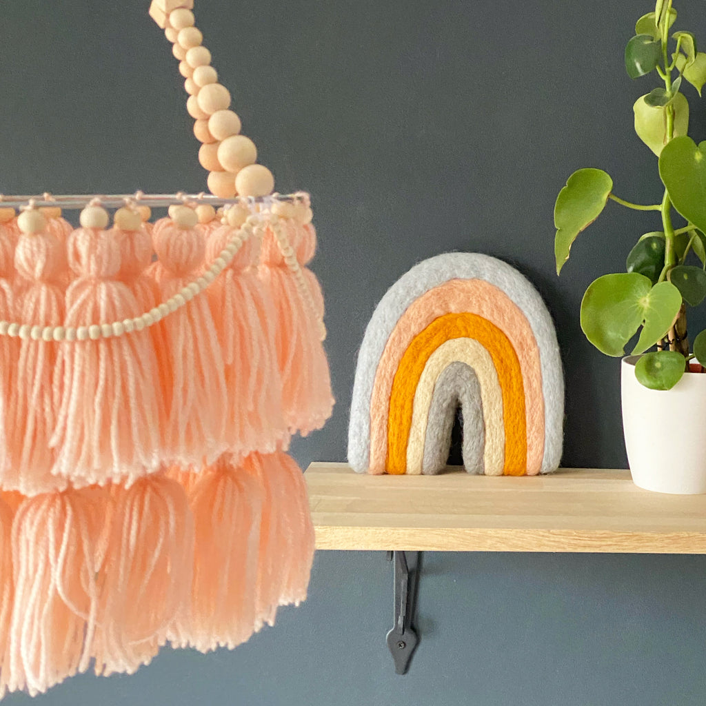 Boho decor tassel mobile chandelier - Umbrella Amarela