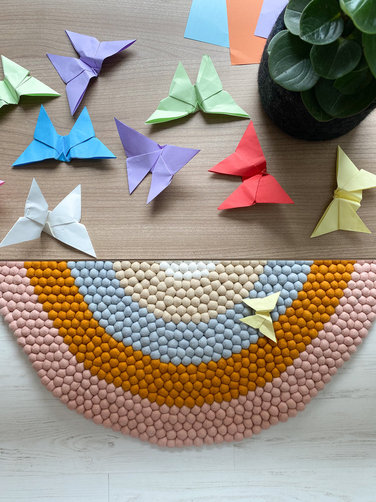 Rainbow Rug and Origami butterflies