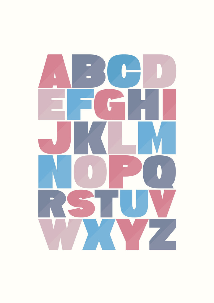 Alphabet - red and blue