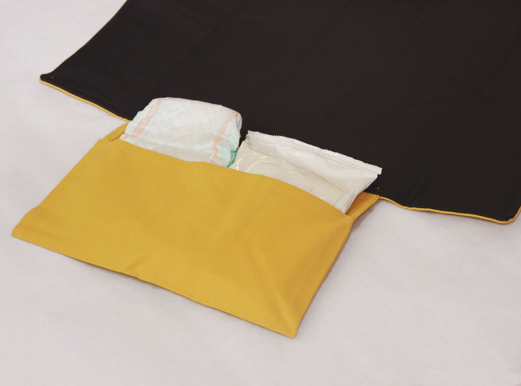 Waterproof portable changing mat with storage - mustard