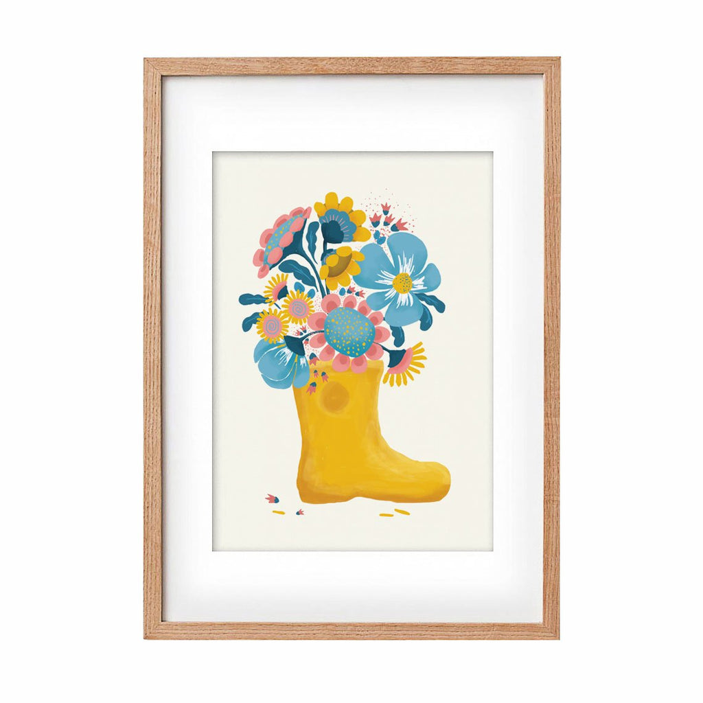 Rain boot with flowers
