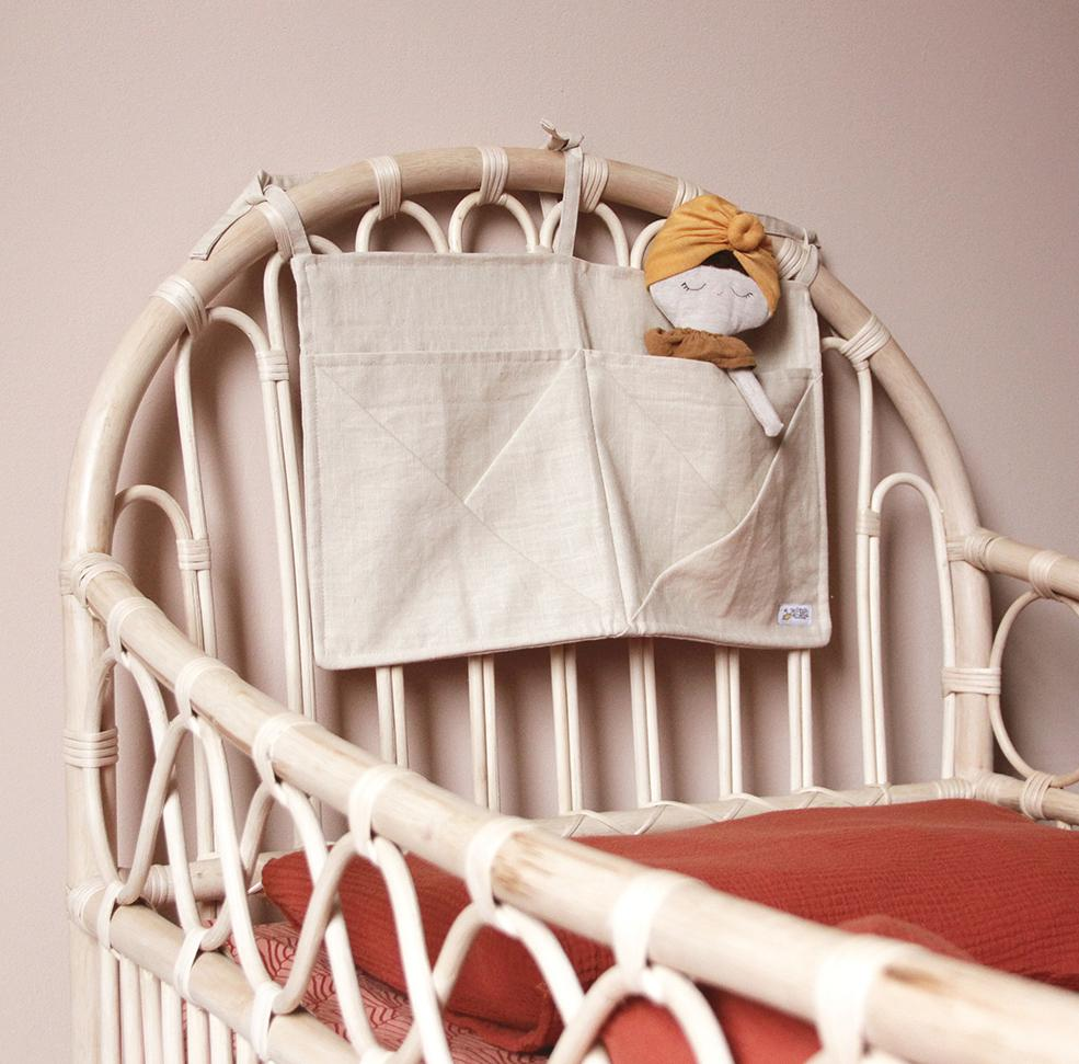 Hanging Linen Storage with Pockets - beige/natural