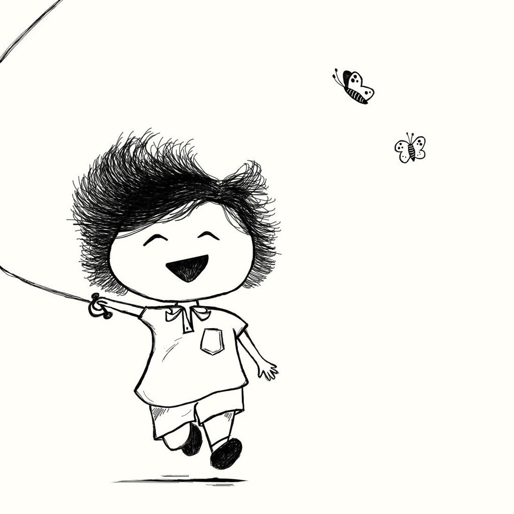 Print Little Boy with Kite - Umbrella Amarela