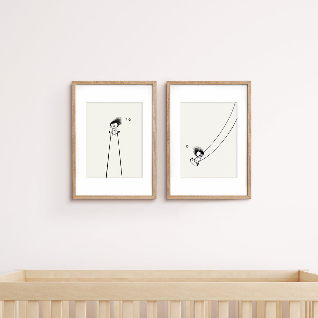 Prints Little Girl on Swing & Little Girl on Seesaw - Umbrella Amarela