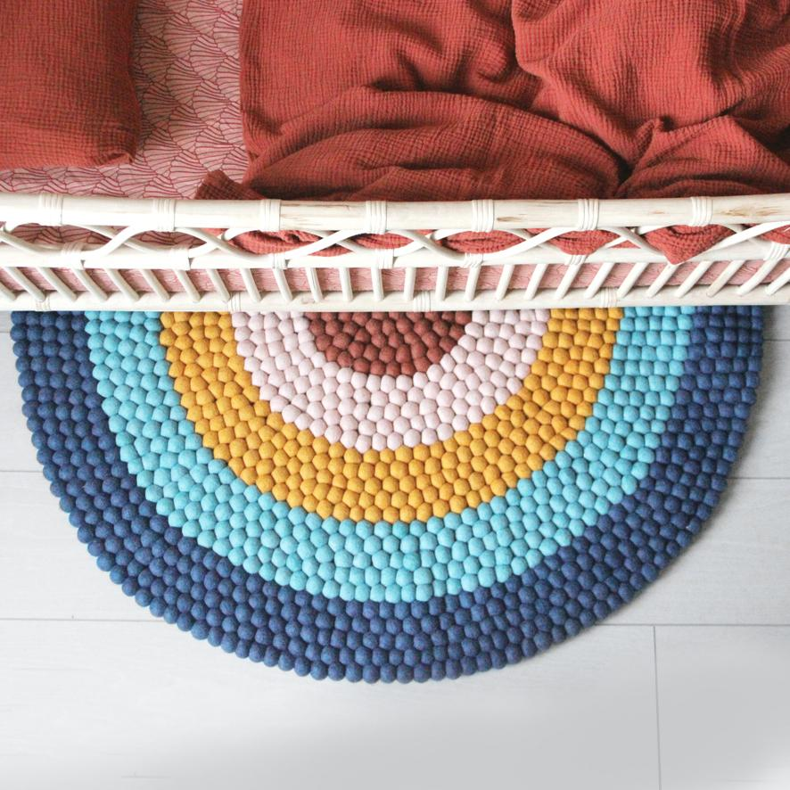 Rainbow Felt Ball Rug - Blue - Umbrella Amarela