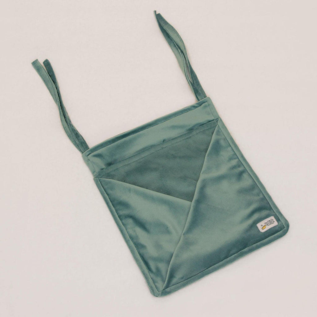 Hanging Velvet Pocket - aqua blue