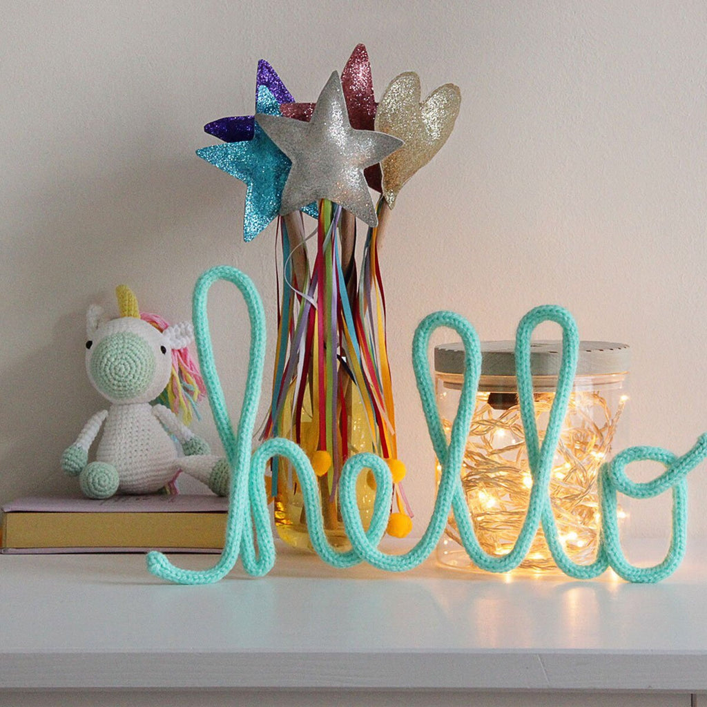Knitted word - hello