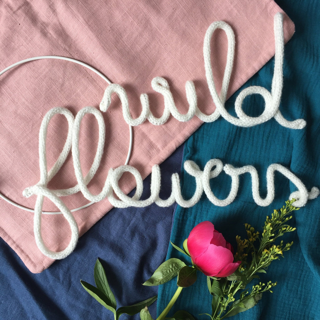 Knitted word sign - Wild Flower