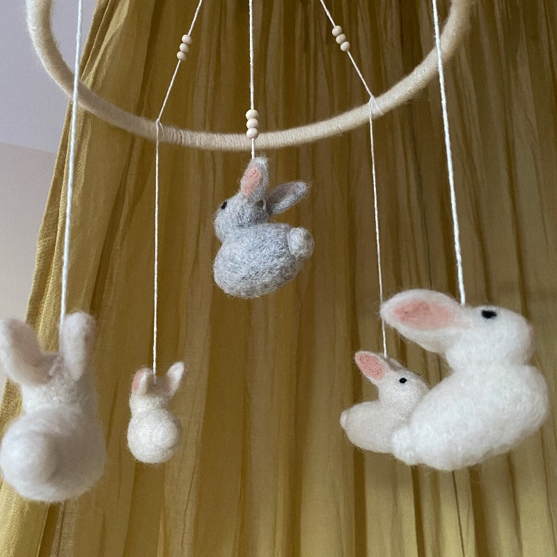 Wool Felt Bunny Baby Mobile White - Umbrella Amarela