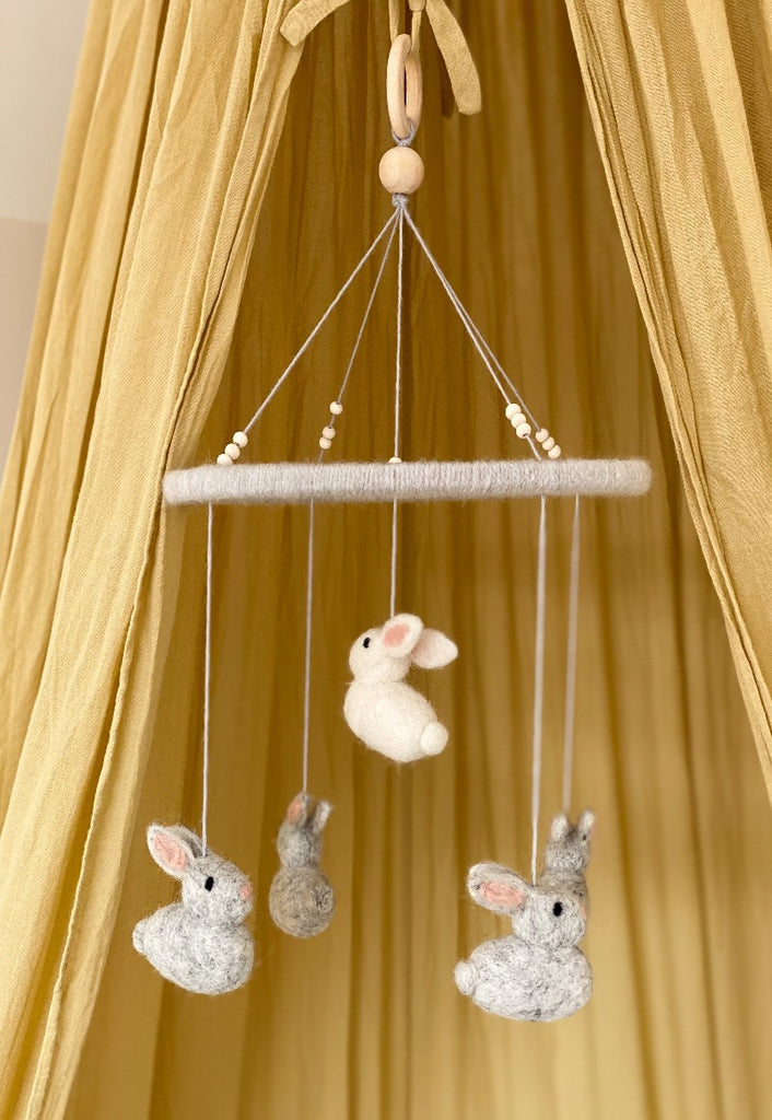 Wool Felt Bunny Baby Mobile Grey - Umbrella Amarela