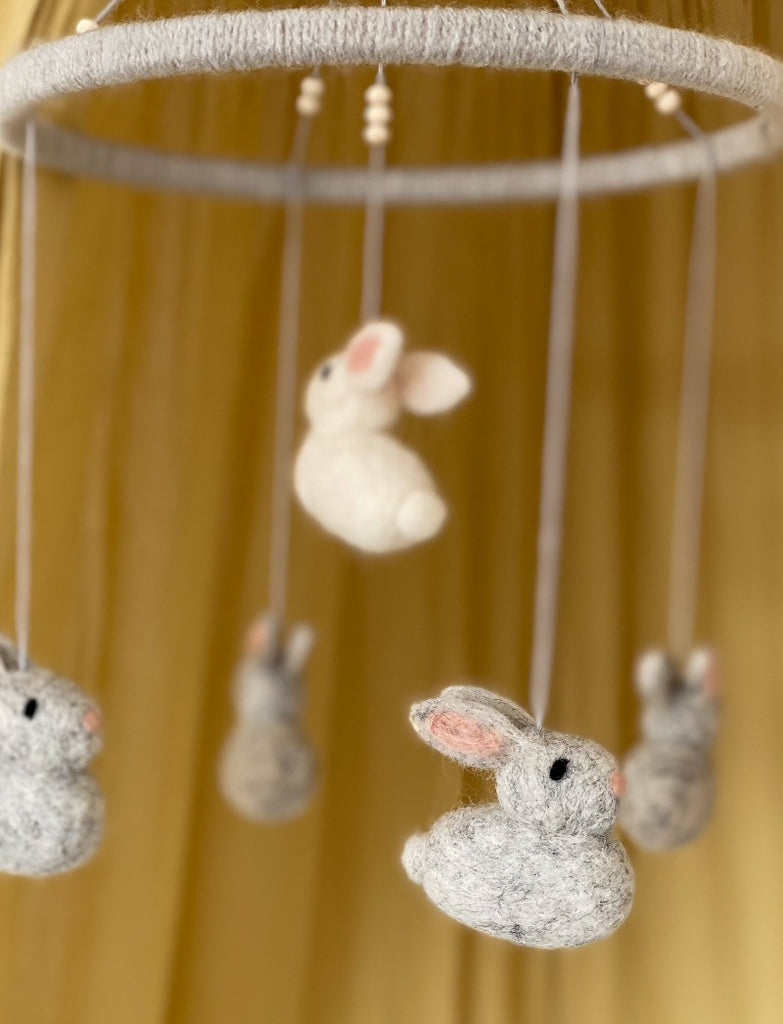 Wool Felt Bunny Baby Mobile - grey - Umbrella Amarela