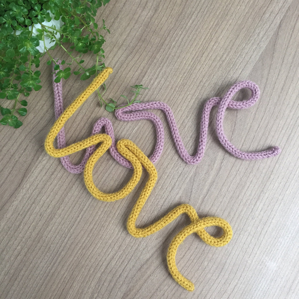 Knitted word  - Love - Umbrella Amarela