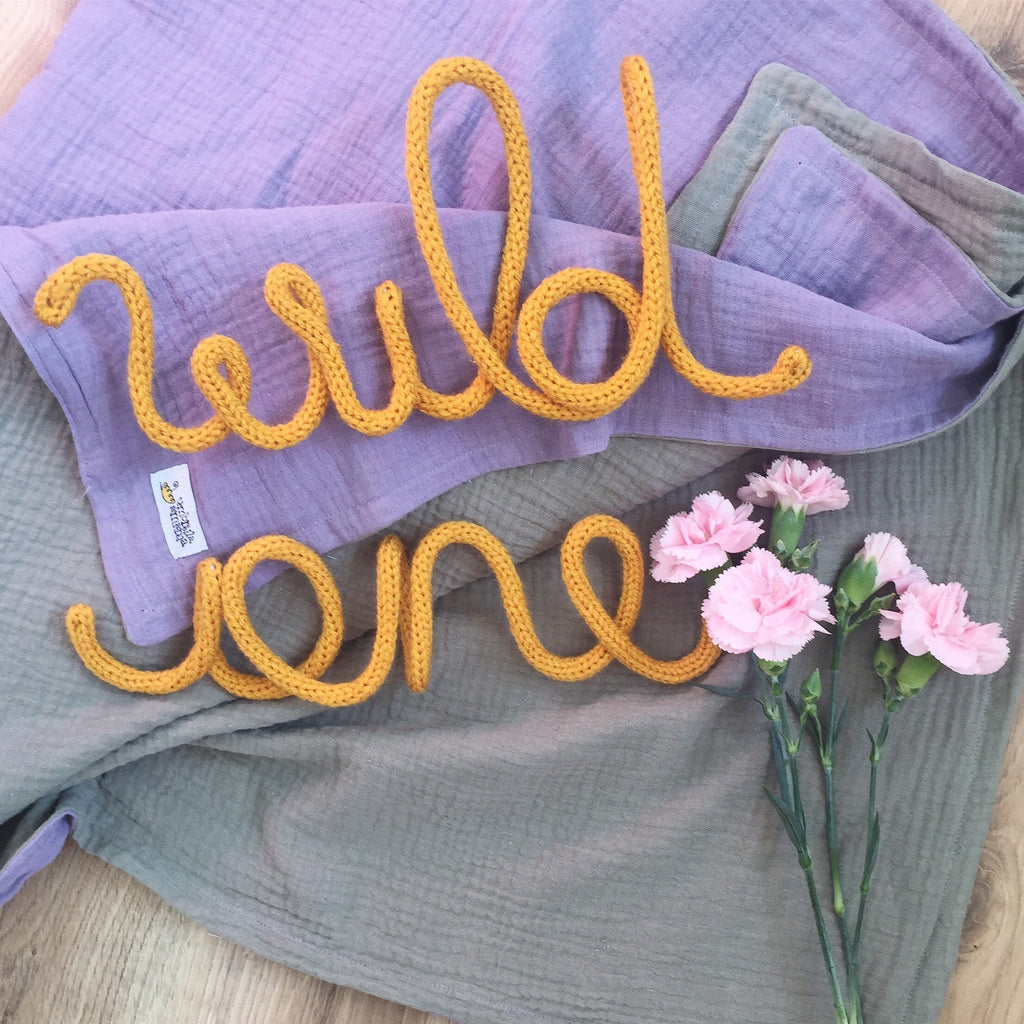 Knitted word sign - Wild One