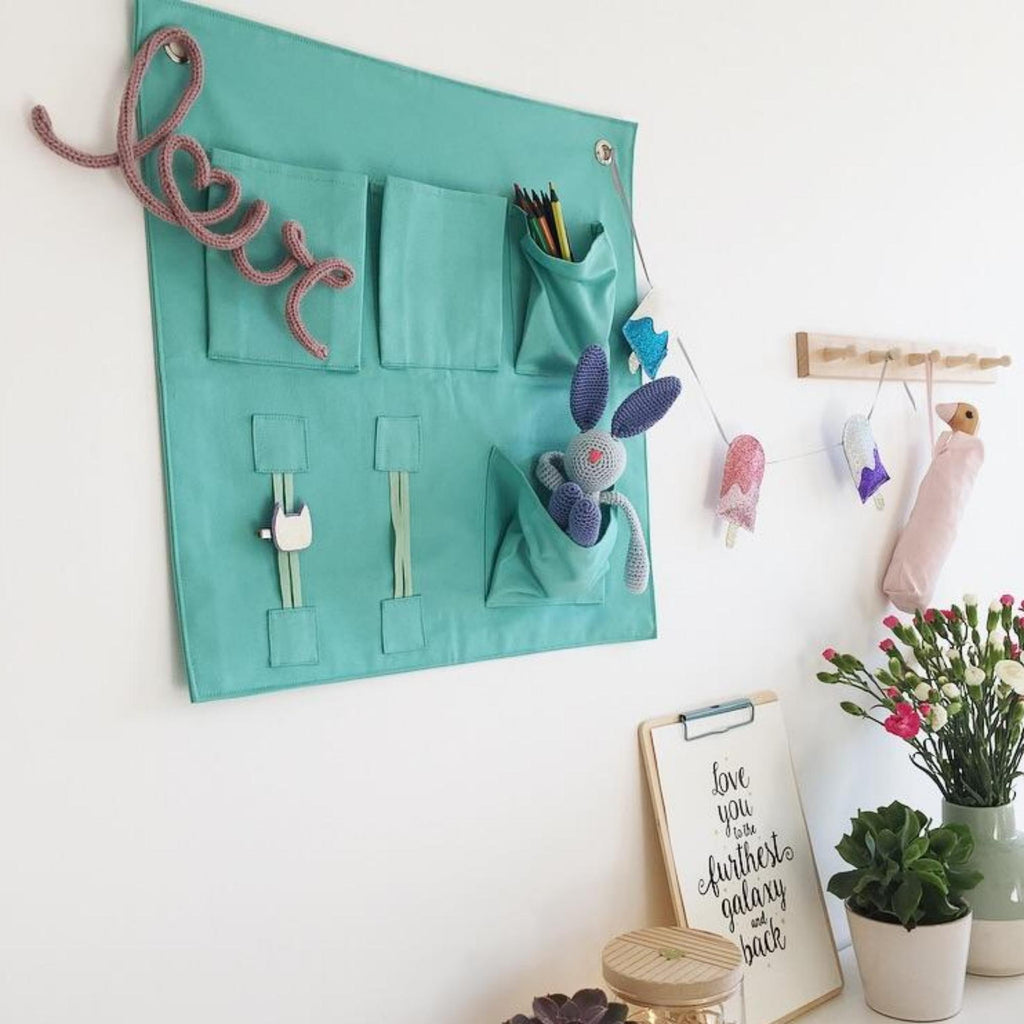 Wall Pockets storage solution - green