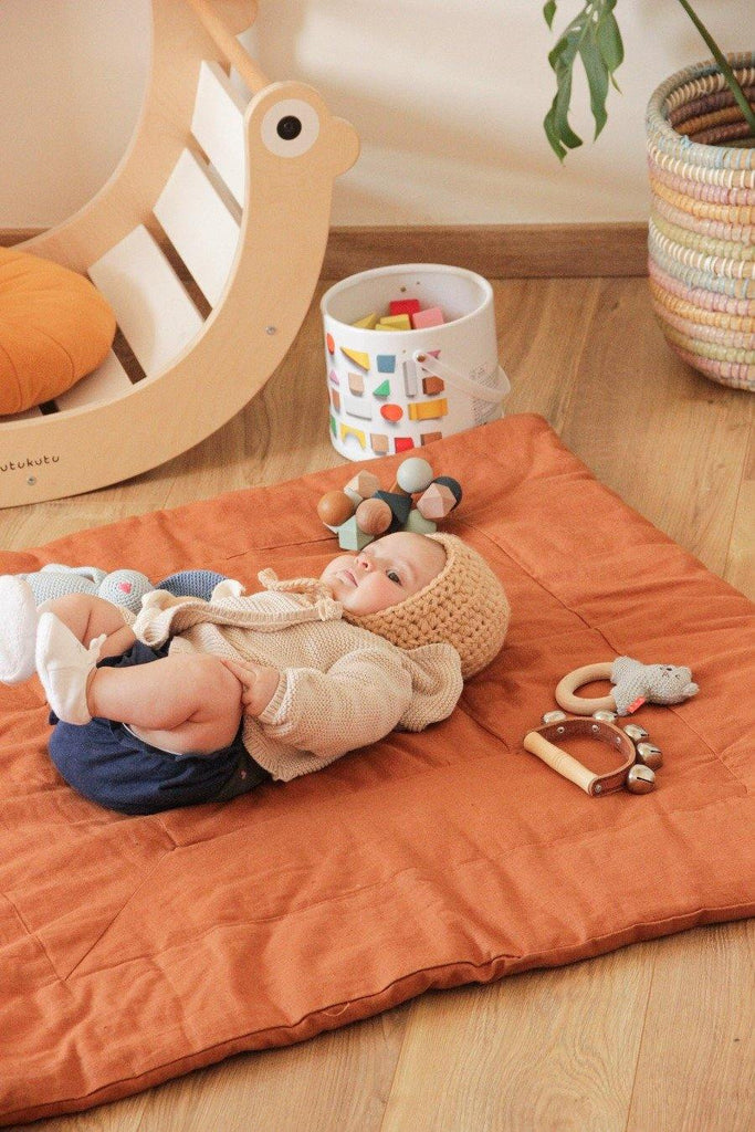 Linen Play Mat • Mustard/Beige/Brown - Umbrella Amarela