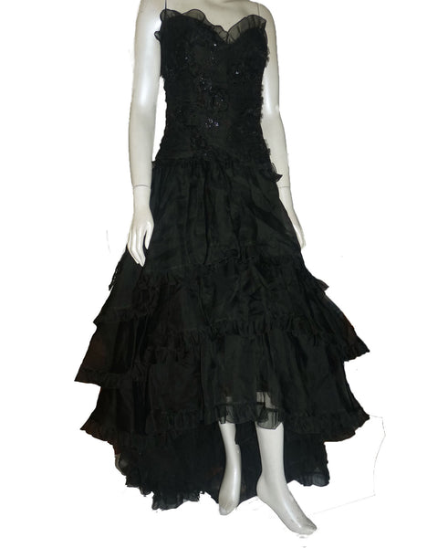 bellville sassoon black strapless tiered dress gown