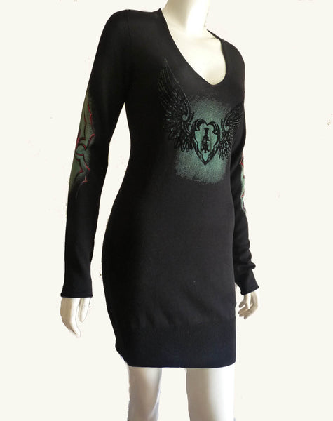 christian audiger iconic black graphics dress sz