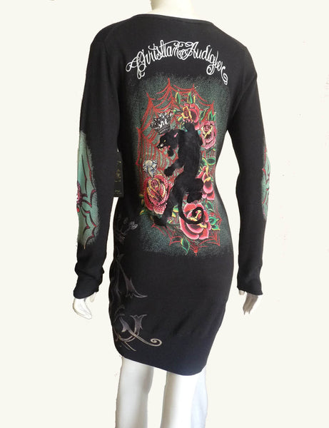 Christian Audigier V neck Dress Sz L Silk Cotton Crowns Roses Panther Crystal spider Flower  NWT