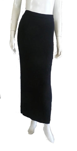 Eileen Fisher Skirt Maxi Black Wool Size S Pencil
