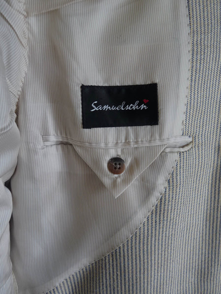 Samuelsohn Blazer jacket Bamboo Cream 43 Reg 3 button Partially lined STriped