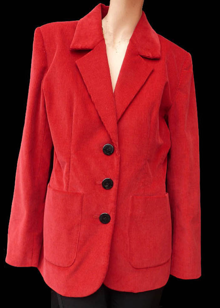 yves saint laurent red cotton cordoroy blazer