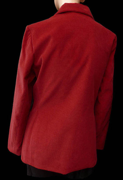 Yves St Laurent Blazer Jacket Variations SZ 8 Red Fine Cotton Corduroy Logo buttons