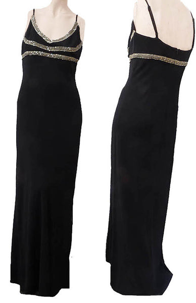 Adrianna Papell Boutique Gown Black S z 10 Silk Sequins Embellished Spaghetti straps