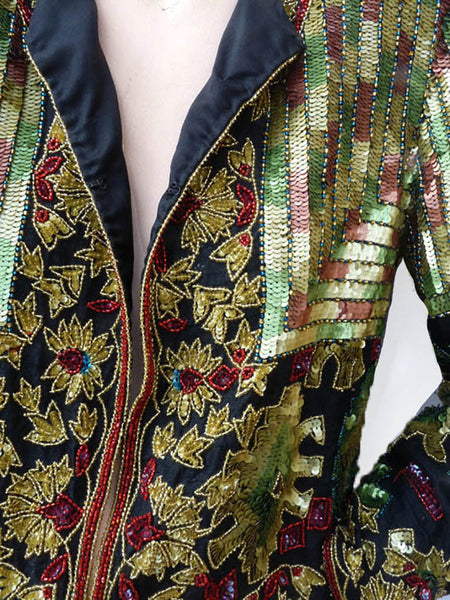 Beaded Evening jacket Sequins Adrianna Papell  S Multicolor Embellished Cruise