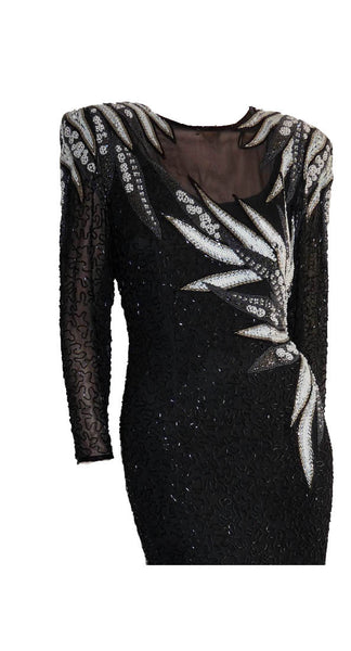 Beaded Cocktail Dress A. J.Bari Sz 6 Black white Bodycon Hour glass Long sjeeves