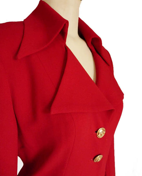 Red Dress  Alberto Makali Hi collar LS Vintage 80s Sz 2 button front sweetheart neck