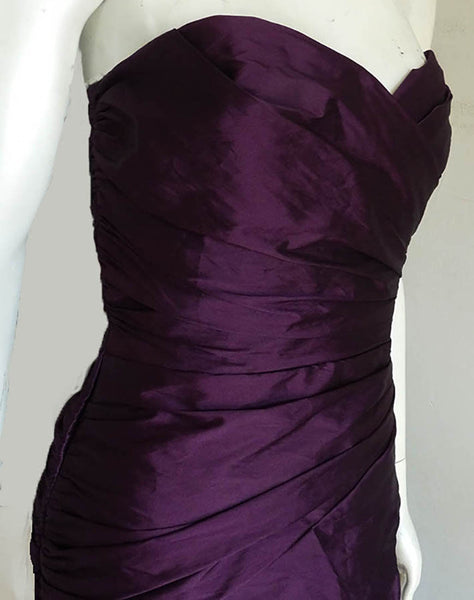 Alvina Valenta Maids Gown Aubergine Iridescent SZ 12Strapless Ruched Bodice Party Prom