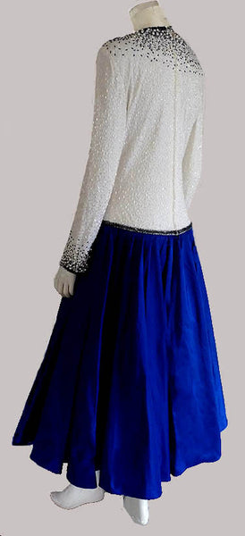 Amen Wardy  Tea Length Formal Hand beaded Top Cobalt circle Skirt Silk LS Evening LS Drop Waist