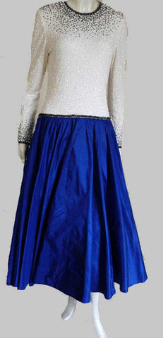 Amen Wardy beaded gown white top cobalt blue skirt n