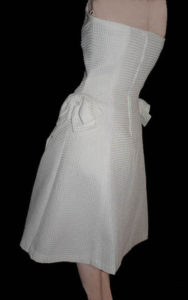 Strapless White cotton Dress Ann Hobbs for Cattiva Black buttons Crystals Sz 6 Waffle fabric